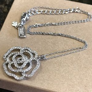 New Kate Spade Silver Crystal Rose Flower Necklace